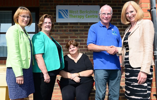 WBTC David Wilson Homes - John Holt, Irene Waters and Terri Costain with Fiona Smith and Adele Kelly at the West Berkshire Therapy Centre